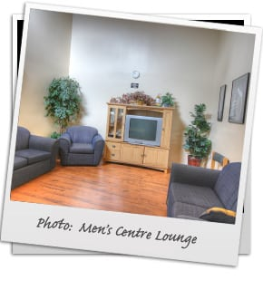 a bright comfortable rehab lounge for men