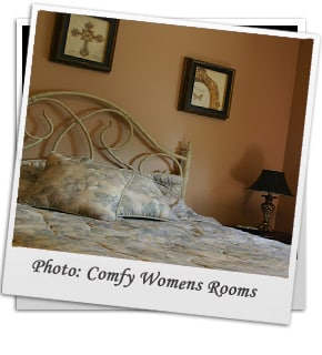 comfortable womens bedroom with plush pillows