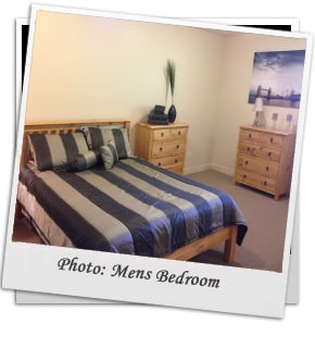 A typical twin bed mens rehab beroom in Kelowna BC.