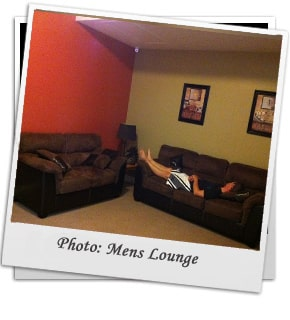 Mens Lounge with long sofa's in Kelowna Rehab facility.